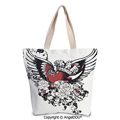 (SCOXIXI Modern Women's Canvas Shoulder Hand Bag Tote Bag Tattoo Style Heart Cro)