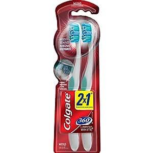 Colgate 360 Luminous Cepillo Dental 2 x 1, Cerda Media Varios Colores