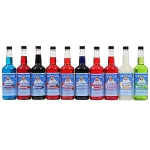 Polar Cones Premium 10 Flavors Snow Cone & Shaved Ice Syrup, Quarts, Cherry, Grape, Orange, Pina Colada and more