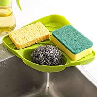 Panzisun Kitchen Sink Corner Storage Rack Sponge Triangle Holder Soap Organizer Cleaning Brush Drain Tray