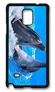 MEIMEIMOKSHOP Adorable dolphins fun Hard Case Protective Shell Cell Phone Cover For Samsung Galaxy Note 4 - PCBMEIMEI