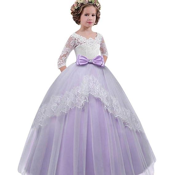 d4b3182eb31da 子供ドレス チュール Lucaso 子供服 人気 ワンピース 女の子 総レース 蝶結び 七分丈 可愛い