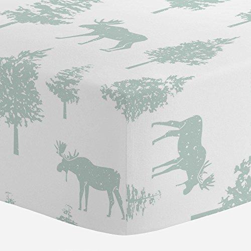Green Moose (Carousel Designs Seafoam Moose Crib Sheet - Organic 100% Cotton Fitted Crib Sheet - Made in the USA)