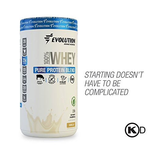 EVOLUTION Pure Whey Protein Isolate Blend - For Men and Women, Beginners or Active Lifestyle - 100% Grass Fed - GMO, Hormones and Gluten Free. 28 Servings - Vanilla Flavored ()