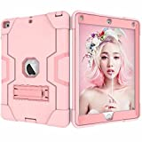 iPad 9.7 2018 Case,iPad 6th Generation Case,iPad 5th Generation Case,LLcase Heavy Duty Three Layer Hybrid Shockproof Full-Body Protective Case With Kickstand For iPad 9.7 2017/2018,Rose Gold