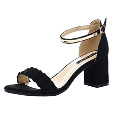 COOLCEPT Mujer Moda Al Tobillo Sandalias Punta Abierta Slingback Tacon Ancho Zapatos (40 EU, Black)