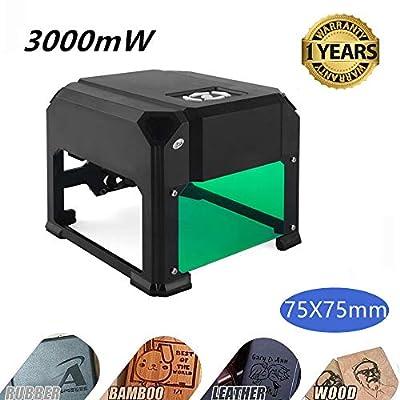 Laser Engraving Machine,Titoe 3000mW Mini Desktop Laser Printer Wood Engraver Machine Working Area 75X75mm for DIY Logo Marking ...