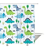 Autien Cartoon Shower Curtain, Waterproof Under the Sea Tropical Fishes Coral Dinosaur Fabric Bathroom Decor with Hooks for Kids and Baby 70.8''×78.7'' (Dinosaur)