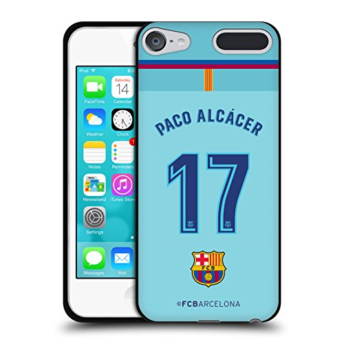 Official FC Barcelona Paco Alcácer 2017/18 Players Away Kit Group 1 Black Soft Gel Case for Apple iPod Touch 5G 5th Gen