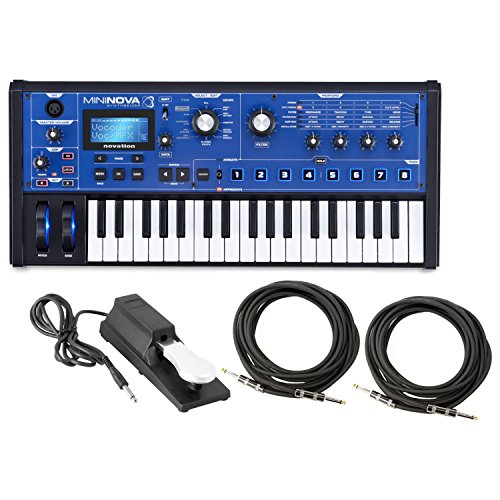 Synthesizer Bundle (Novation Mini Nova analogue-modeling synthesizer w/ Sustain Pedal and 2 18.6' Instrument Cables)