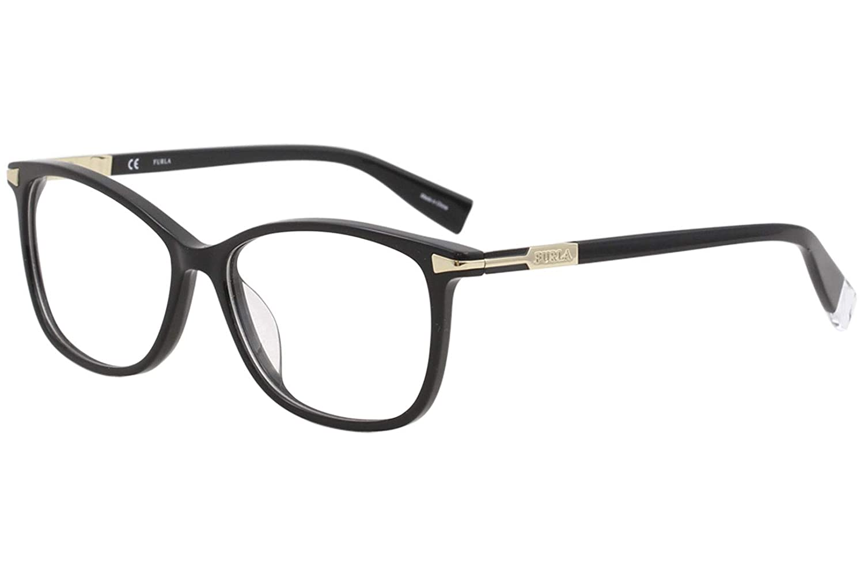 4948d7ea16b Furla Women s Eyeglasses VFU026 VFU 026 Full Rim Optical Frame 54mm (Black)  at Amazon Men s Clothing store