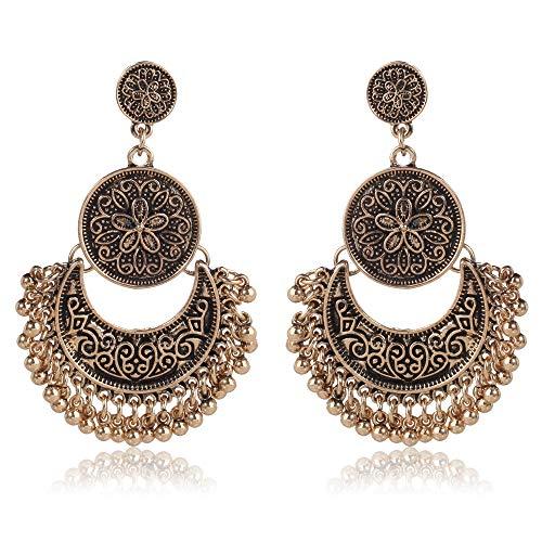 RMM Ethnic Bali Jhumka Jhumki Gold Brocade Lotus Mexico Gypsy Dangle Earrings with Gift Bag (Vintage Gold)