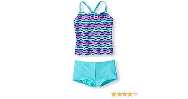Wonder Nation Girls Splendor Blue 2 Piece Cross-Back Tankini Boyshort Swimsuit