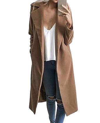 0030c86ab71c Sentao Élégant Manteaux Hiver Femme Veste Manteau Long Parkas Trench-Coat  Classique Manches Longues Outwear Blazer Veste  Amazon.fr  Vêtements et ...