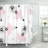 TOMPOP Shower Curtain Pink Ballet Cute Ballerina Child Dance Graphic Adorable Baby Waterproof Polyester Fabric 72 x 72 Inches Set with Hooks
