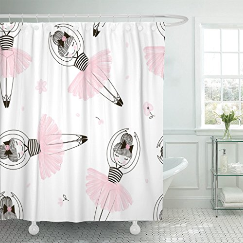 TOMPOP Shower Curtain Pink Ballet Cute Ballerina Child Dance Graphic Adorable Baby Waterproof Polyester Fabric 72 x 72 Inches Set with Hooks by TOMPOP