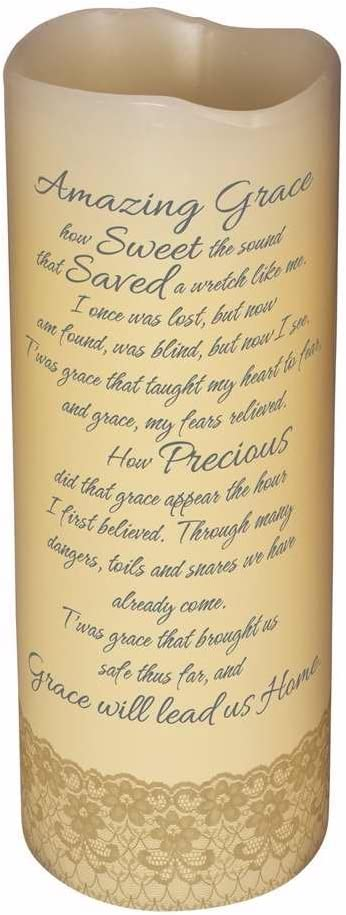 Carson Home Accents 10403 Candle Flameless Amazing Grace with Timer Vanilla8 in.