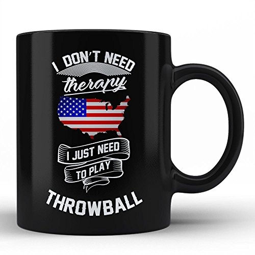 Throwball Is My Therapy | Proud American Throwball Player White Coffee Mug By HOM Best Sport Hobby Passion mug for Throwball Players Friends Family His Her - Player Throwball