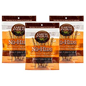 Earth Animal No-Hide Cage-Free Chicken Stix Natural Rawhide Alternative Dog & Cat Chews, 3 10-Count Bags
