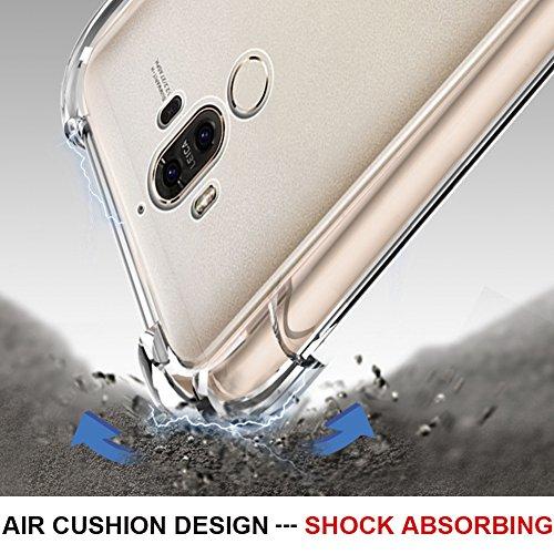 Huawei Mate 9 Hülle, MSVII® Air-Cushion Design Durchsichtig Weich TPU Hülle Schutzhülle Case Und Displayschutzfolie für Huawei Mate 9 JY70002