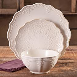 The Pioneer Woman Farmhouse Lace Dinnerware Set, 12-Piece - Linen