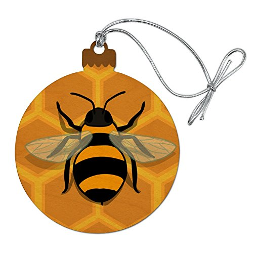 Bee on Honeycomb Wood Christmas Tree Holiday Ornament, fun bee ornaments for christmas