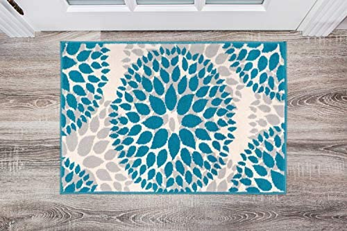 Modern Floral Circles Design Area Rugs 2 X 3 Blue
