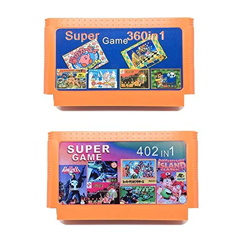 2 Pieces Game Collection 402 in 1 Game Cartridge + 360 in 1 Game Card For 8 Bit Dandy Game Player