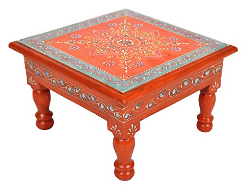 Lalhaveli Rajasthani Hand Pained Work Design Vintage Wooden Puja Chowki 9 X 9 X 5.5 - Painted Hand Furniture Nursery