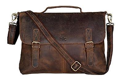 HLC 16 Inch Retro Buffalo Hunter Leather Laptop Messenger Bag Office Briefcase College Bag