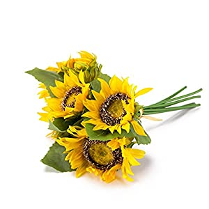 "Saideke Home 1 bouquet 13.7"" Tall Artificial Silk Sunflower Bouquet 7-stems Flowers For Home Wedding Decoration 42"