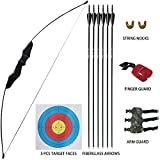 D&Q Archery Recurve Bow and Arrow Set for Adult Youth Junior Beginner Outdoor Hunting Shooting Training Target Practice Toy 35 lbs Takedown Longbow Kit with Arrows Target Faces Right Handed