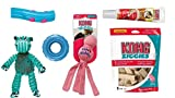 KONG Puppy Play Pack Small Toy Bundle (Pink/Blue Asst), (1) eash: Floppy Knots Hippo, Durasoft Stick, Wubba Chew, Tire Chew, Puppy Ziggies Teeth-Cleaning Chews, and Peanut Butter Stuff'n
