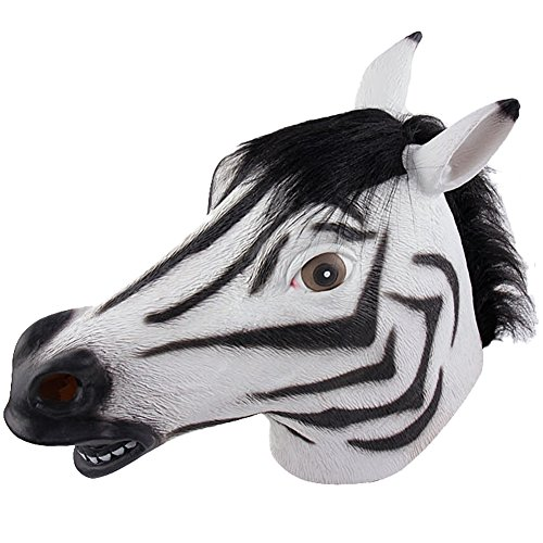 [Queenshiny Latex Animal Head Mask Halloween Cosplay Party Costume Fancy Dress (One size, Zebra-1)] (Zebra Head Costumes)
