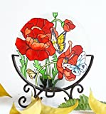 Hand Painted Art Glass Tea Light Candle Holder Table Topper Candleware Holiday Decor (Three Horses)