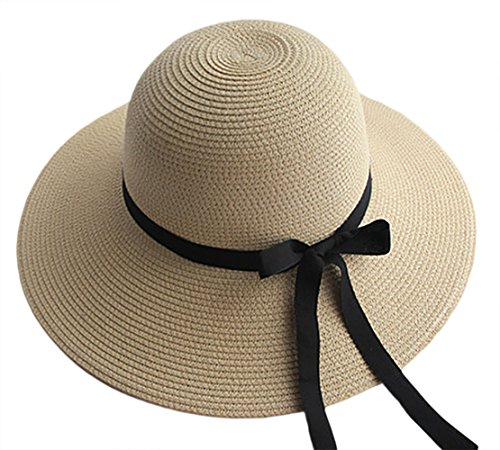 IL Caldo Womens Fashion Summer Straw hat Sun hat Folding Travel Beach Cap With Lovely Bow£¬Beige
