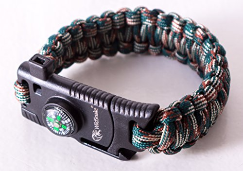 WildSnake Emergency Paracord Survival Bracelets and with Rope Cutter |Set of Tactical Survival Gear |Flint Fire Starter, Whistle, Compass & OUTDOOR (Camo/Dark Green)