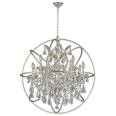 "Worldwide Lighting CP191MN33-CL Armillary 13 Light Foucault's Orb Crystal Chandelier, Matte Nickel Finish and Clear Crystal, 33"" D x 35"" H"