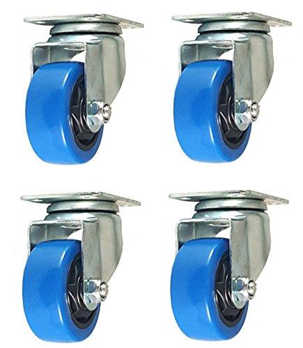Four Pack Caster Wheels Swivel Plate Stem Break Casters On Blue Polyurethane Wheels Twelve Hundred Lbs Three inch Plate