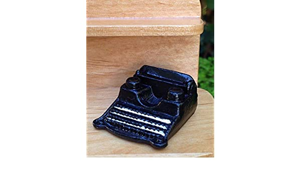 Miniature Dollhouse FAIRY GARDEN Accessories Small Black Metal Retro Typewriter