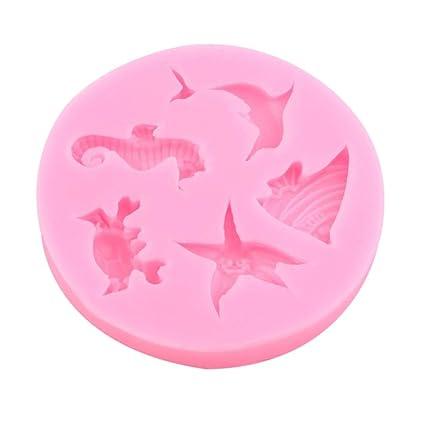 ToGames-ES Pink Dolphin Crab Starfish Seahorse Angel Fish Pastel de Silicona Chocolate Molde