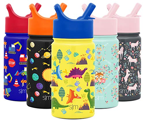 Simple Modern 14oz Summit Kids Water Bottle Thermos with Straw Lid - Dishwasher Safe Vacuum Insulated Double Wall Tumbler Travel Cup 18/8 Stainless Steel -Sunshine Dino