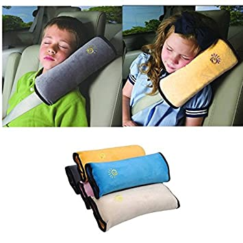 baby car pillow for safety gray adjustable belt shoulder pad pillow for kids