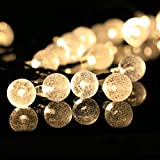 Solar Outdoor String Lights, 20ft 30 LED Fairy Lights with Crystal Ball Covers, Ambiance Lighting, for Outdoor Patio, Pathway, Garden, Party, Bedroom Decor, Christmas Party (Warm white)