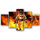 Firefighters wall art canvas prints art home decor for living room modern Pictures pictures 5 panel large posters HD printed painting Framed Ready to hang