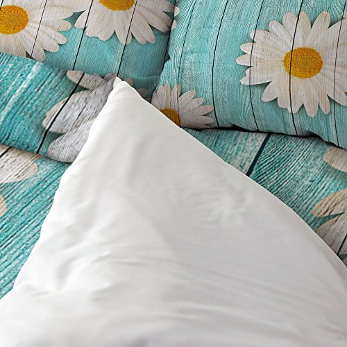 Libaoge 4 Piece Bed Sheets Set, White Daisy Flower on Rustic Old Barn Wood Design, 1 Flat Sheet 1 Duvet Cover and 2 Pillow Cases by Libaoge (Image #1)