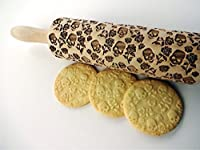 Embossing rolling pin with SUGAR SKULL and ROSES. Pattern with skulls and roses. Laser engraved rolling pin.