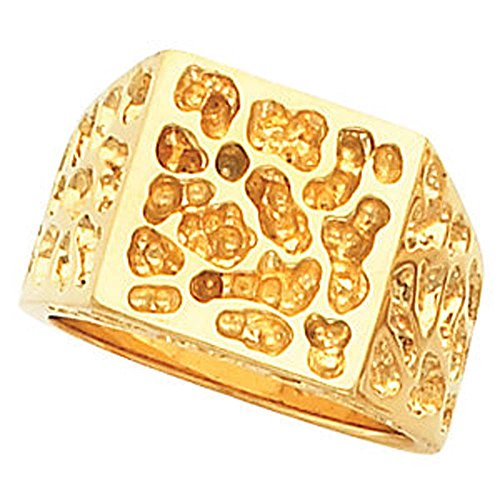 14.00 mm Men's Solid Nugget Ring Mounting in 14k Yellow Gold ( Size 10 ) 14k Yellow Gold Mens Mounting