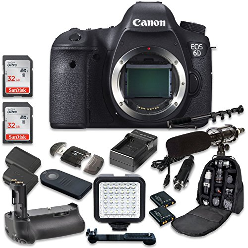 Canon EOS 6D 20.2 MP Full Frame CMOS Digital SLR DSLR Camera (Body Only) with 2pc SanDisk 32GB Memory Cards + Battery Power Grip + Special Promotional Holiday Accessory Bundle (Canon 5d Mark Iii Flash Bracket)