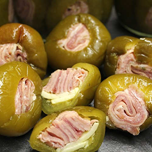 (Stuffed Cherry Peppers with Rolled Italian Meats: 8 Oz. Jar (Hot))
